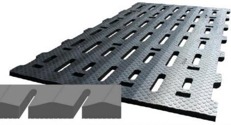 Revêtement caoutchouc pour caillebotis LOSPA SB, avec surface incurvée de 5% autour de la fente du caillebotis